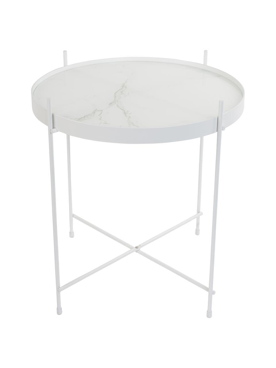 Tablett-Tisch Cupid mit Glasplatte, Gestell: Eisen, pulverbeschichtet, Tischplatte: Glasplatte mit Folie in M, Weiß, Ø 43 x H 45 cm