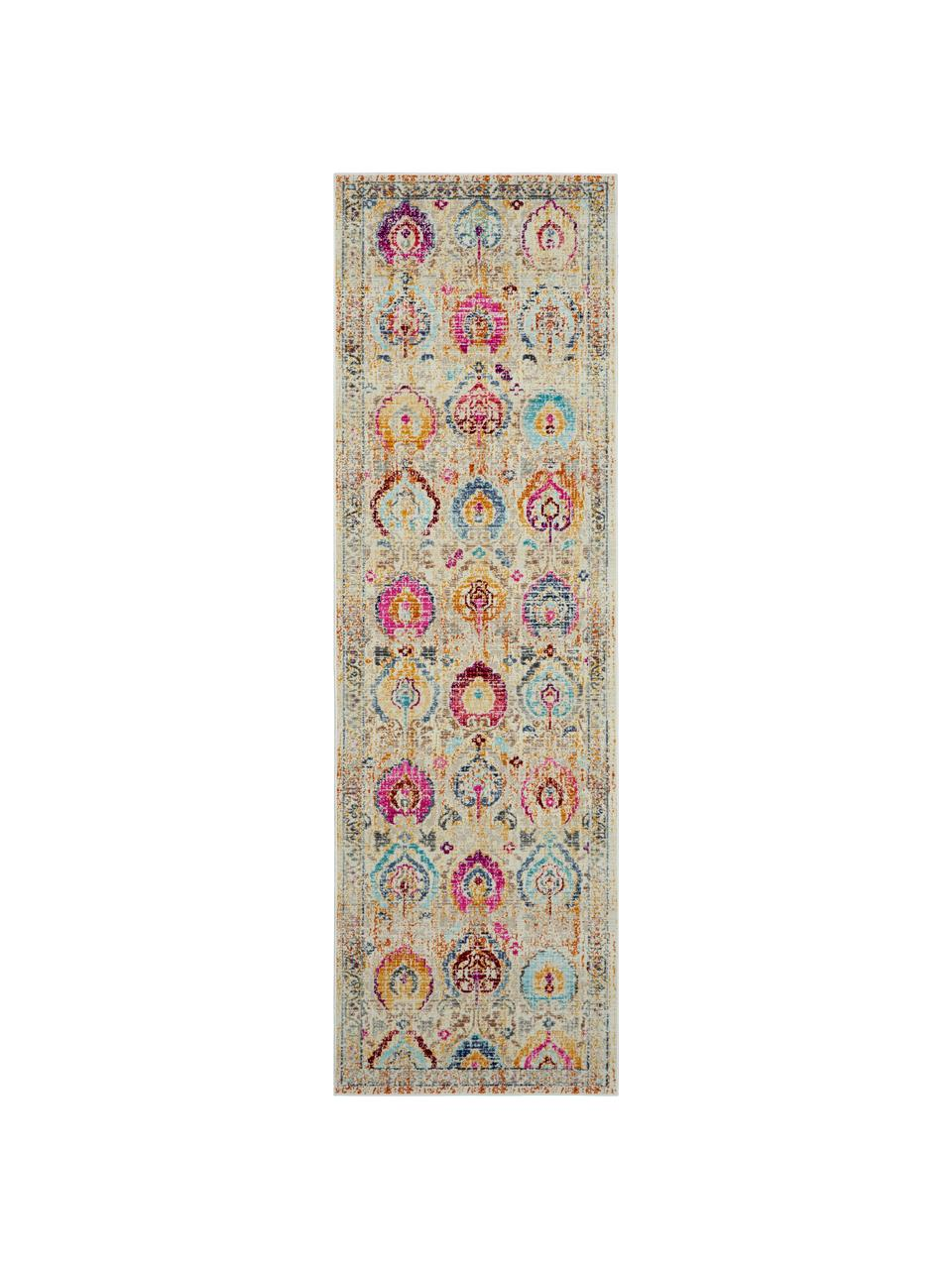 Niederflor-Läufer Kashan Vintage mit bunten Ornamenten, Flor: 100% Polypropylen, Beige, Mehrfarbig, 60 x 175 cm