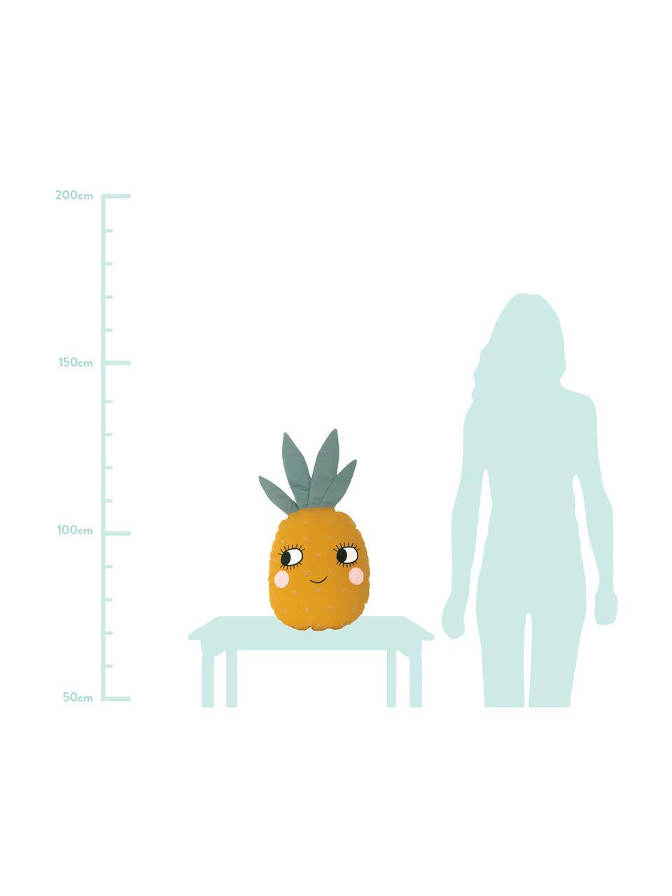 Kissen Pineapple aus Bio-Baumwolle, mit Inlett, Bezug: 100% Biobaumwolle, OCS-ze, Gelb, 32 x 61 cm