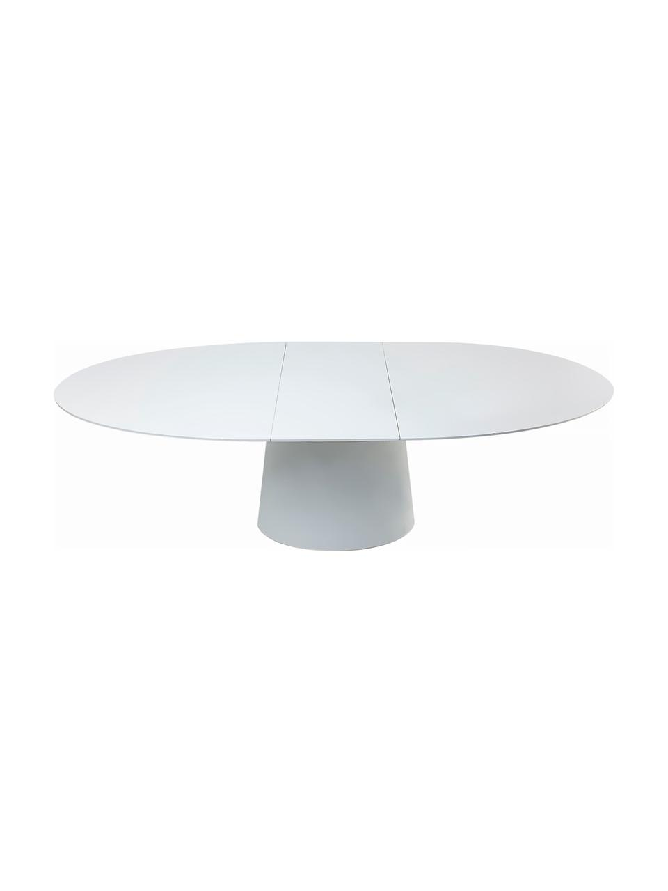 Ovale uitschuifbare eettafel Benvenuto in wit, Gelakt MDF, Wit, B 200 tot 250 x D 110 cm