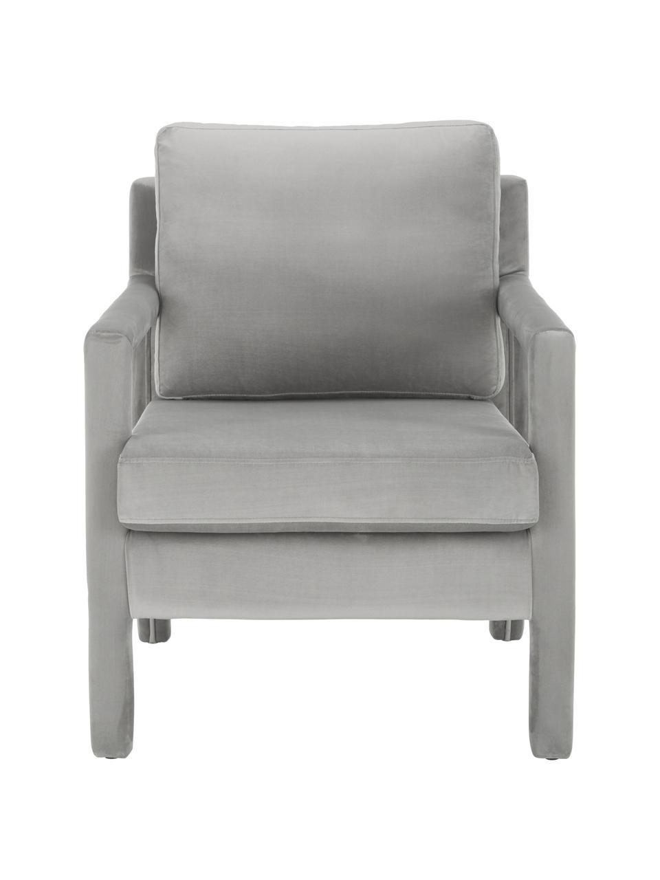Samt-Sessel Claudette in Grau, Bezug: Samt (100% Polyester) Der, Gestell: Massives Kiefernholz, Spe, Grau, B 65 x T 75 cm