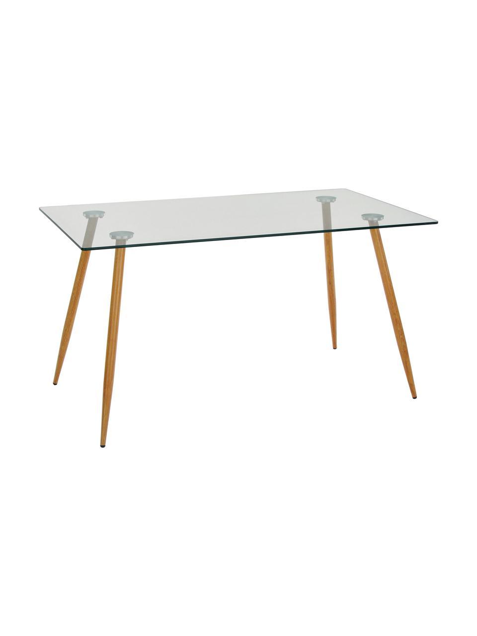 Table en verre avec pieds en bois Wilma, Plateau: transparent Fixation: métal Pieds: chêne