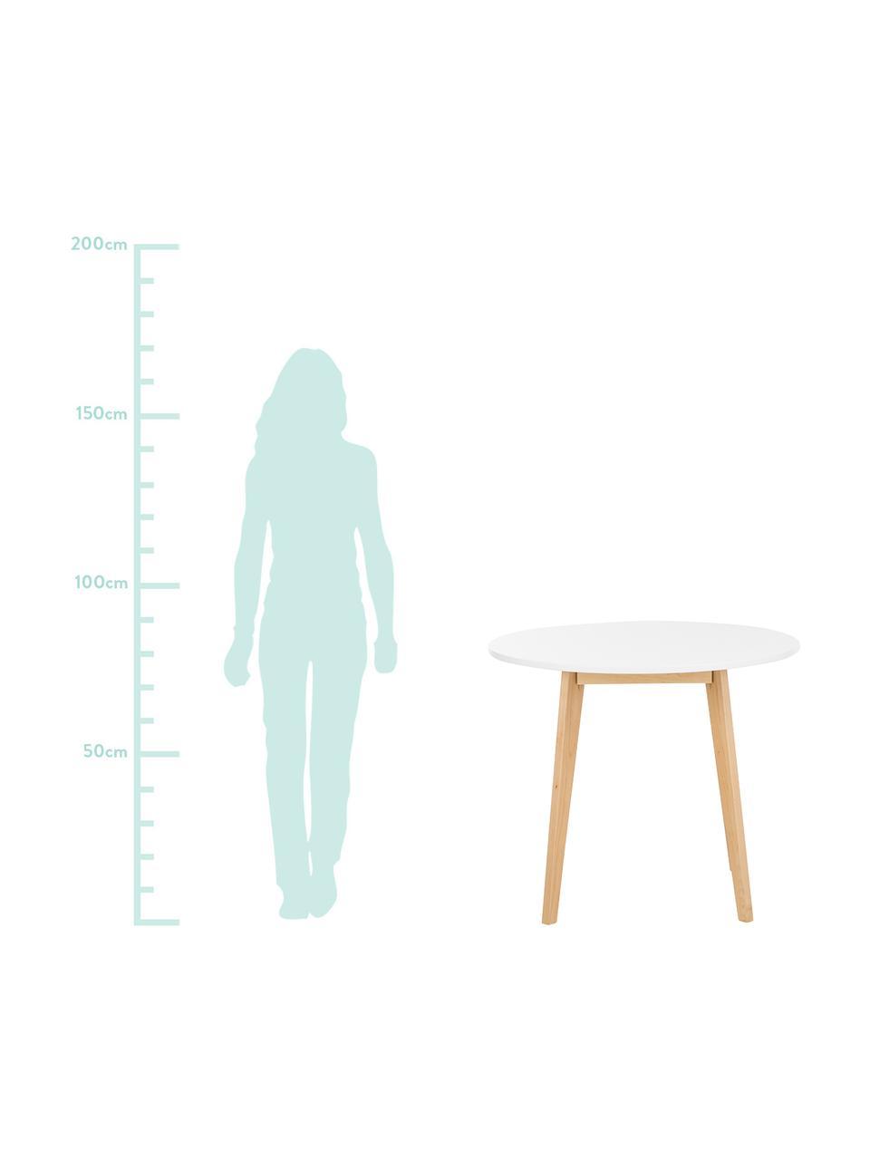 Kleiner runder Esstisch Raven im Skandi-Design, Beine: Birkenholz, naturbelassen, Tischplatte: Mitteldichte Holzfaserpla, Weiß, Birkenholz, naturbelassen, Ø 90 cm
