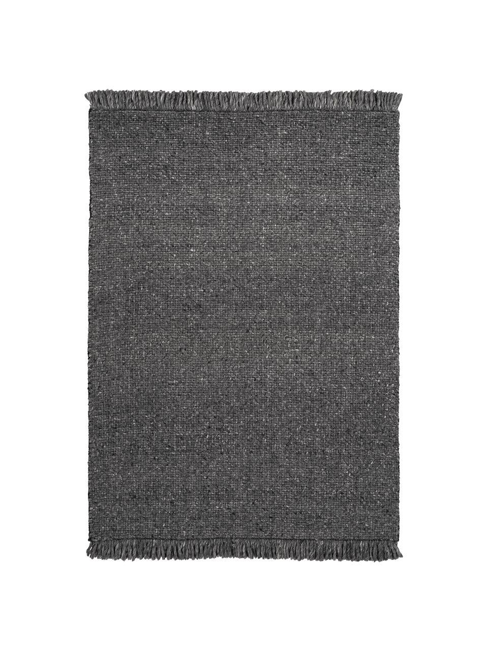 Tapis laine tissé main avec franges Eskil, Anthracite, chiné