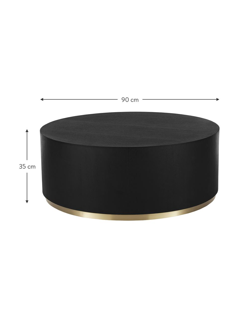 Grote salontafel Clarice in zwart, Frame: MDF met eikenhoutfineer, Voet: gecoat metaal, Frame: zwart gelakt eikenhout. Voet: goudkleurig, Ø 90 x H 35 cm