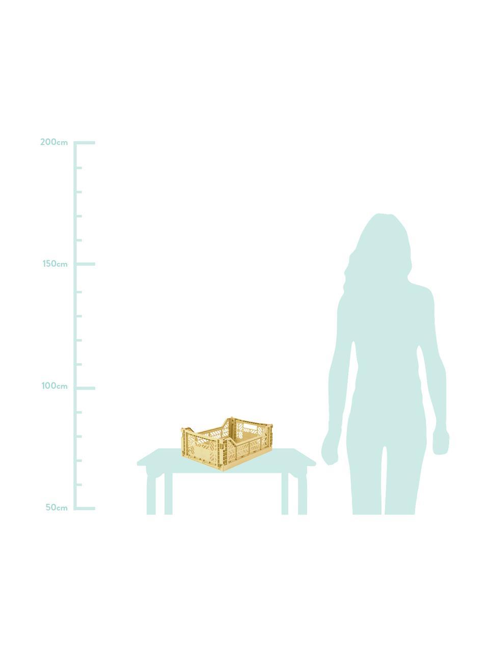 Caja pegable apilable Banana, mediana, Plástico reciclado, Crema, An 40 x Al 14 cm