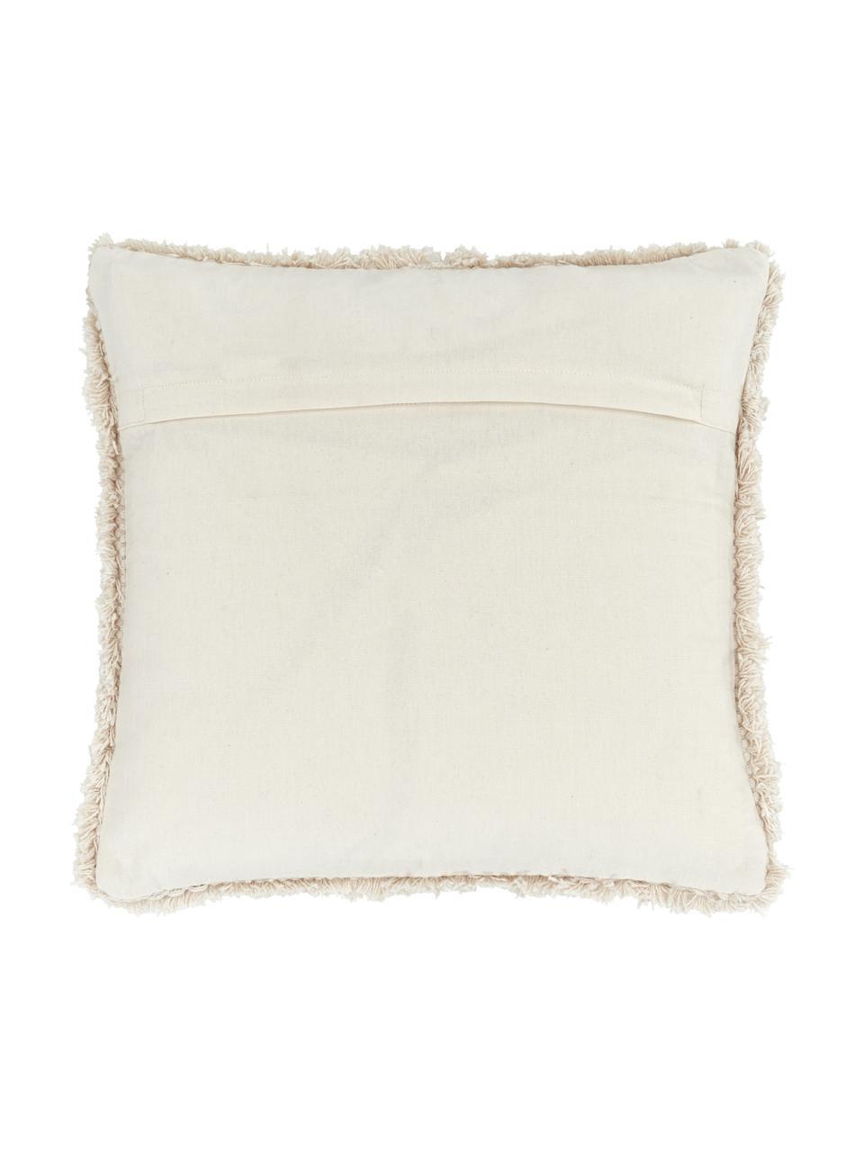 Kissenhülle Selina mit dekorativer Verzierung, 100% Baumwolle, Beige, 45 x 45 cm