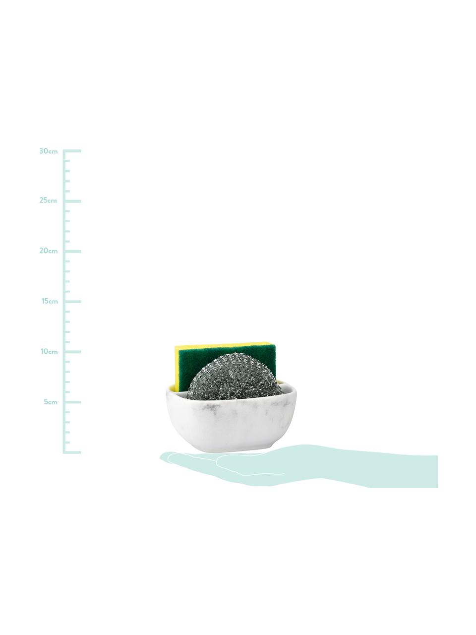 Schwammhalter Galia in Weiß, 3er-Set, Metallschwamm: Metall, Weiß, Silberfarben, 10 x 13 cm