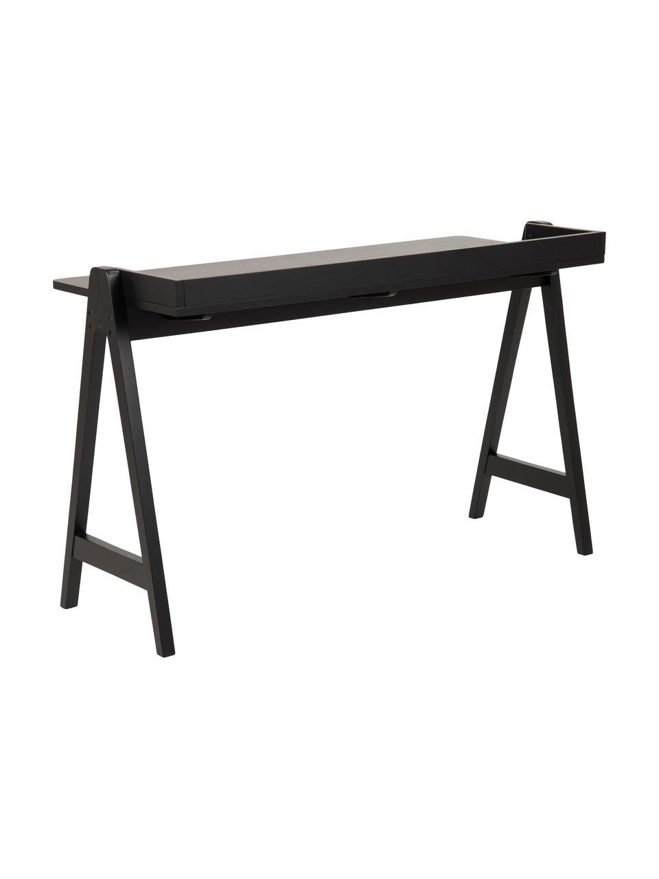 Modern bureau Miso, MDF, gebeitst, Zwart, 127 x 52 cm