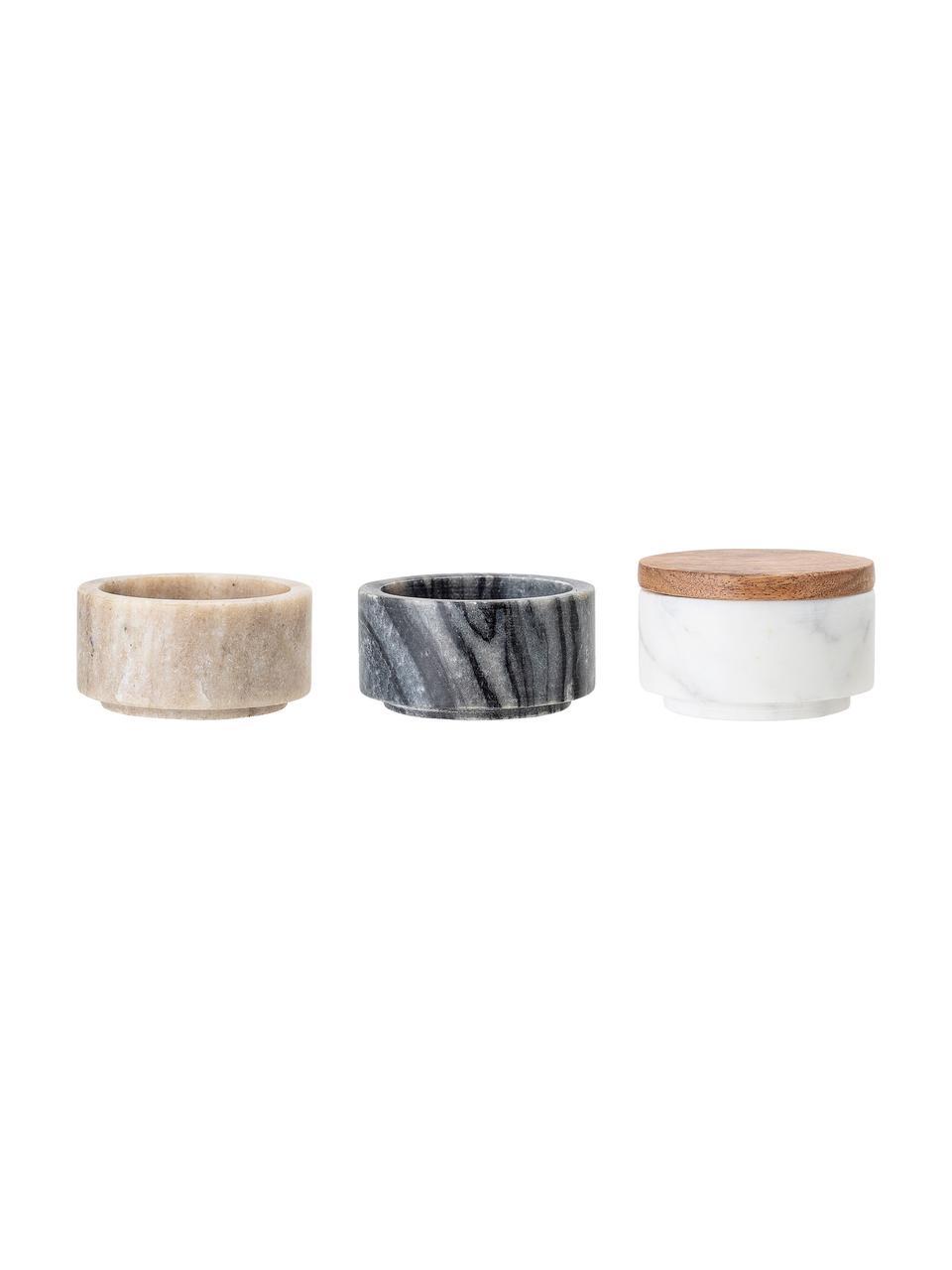 Set 3 contenitori in marmo Gatherings, Contenitori: marmo, Coperchio: legno d'acacia, Marrone, grigio, bianco, marmorizzato, Ø 8 x Alt. 12 cm