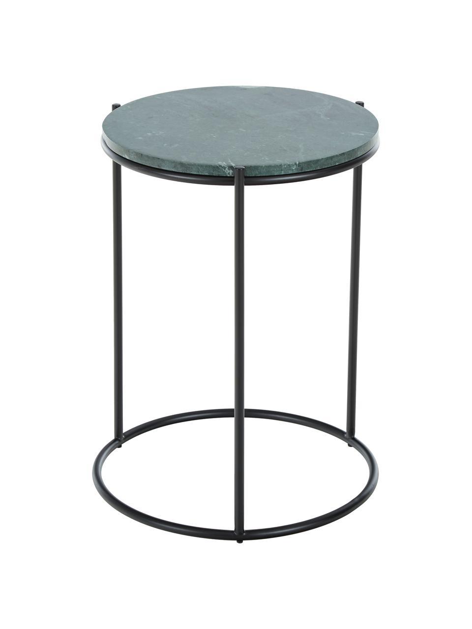 Tavolino rotondo con piano in marmo Ella, Struttura: metallo verniciato a polv, Piano d'appoggio: marmo verde Struttura: nero opaco, Ø 40 x Alt. 50 cm