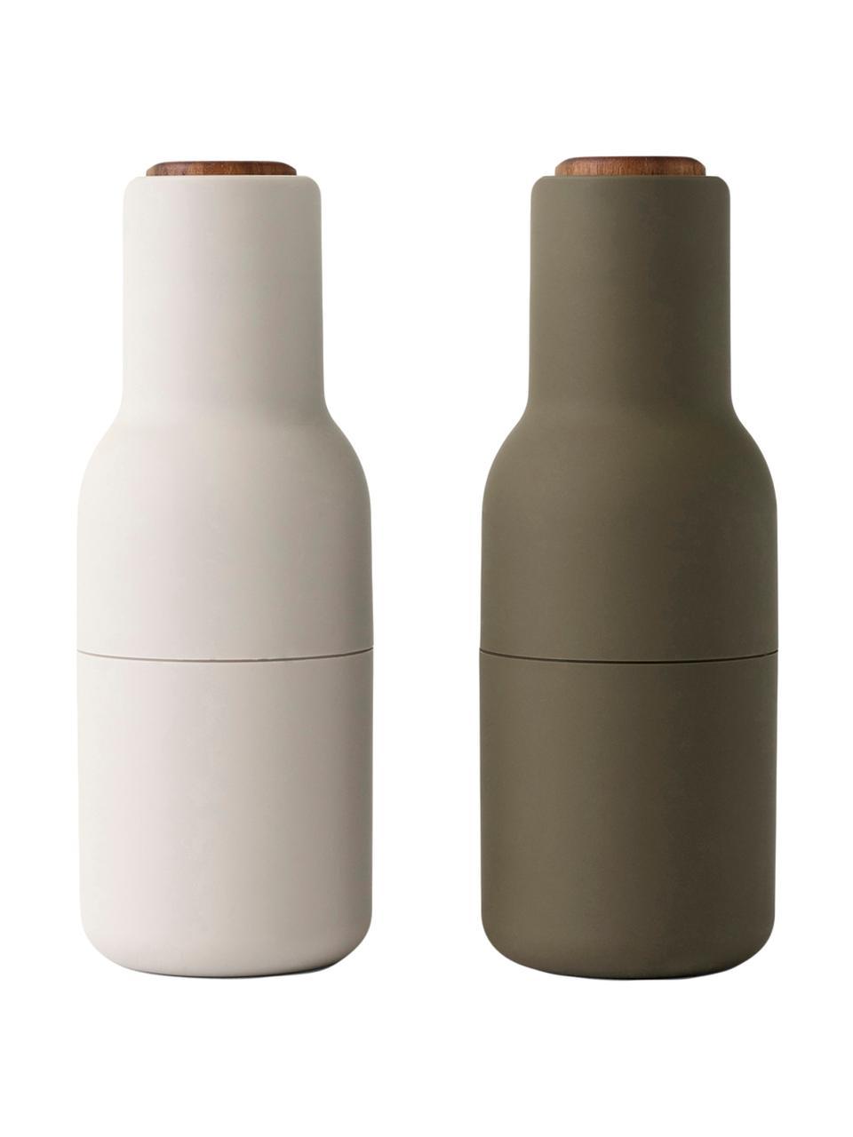 Designer Salz- & Pfeffermühle Bottle Grinder mit Walnussholzdeckel, Korpus: Kunststoff, Mahlwerk: Keramik, Deckel: Walnussholz, Dunkelgrün, Beige, Ø 8 x H 21 cm