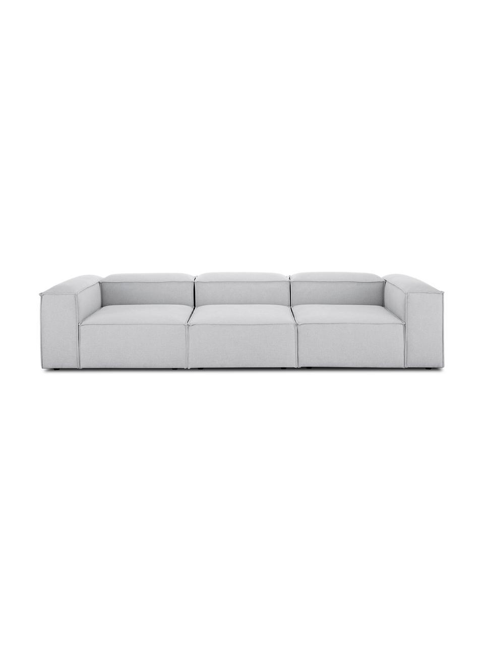 Modulares Sofa Lennon (4-Sitzer) in Hellgrau, Bezug: Polyester Der hochwertige, Gestell: Massives Kiefernholz, Spe, Füße: Kunststoff, Webstoff Hellgrau, B 326 x T 119 cm