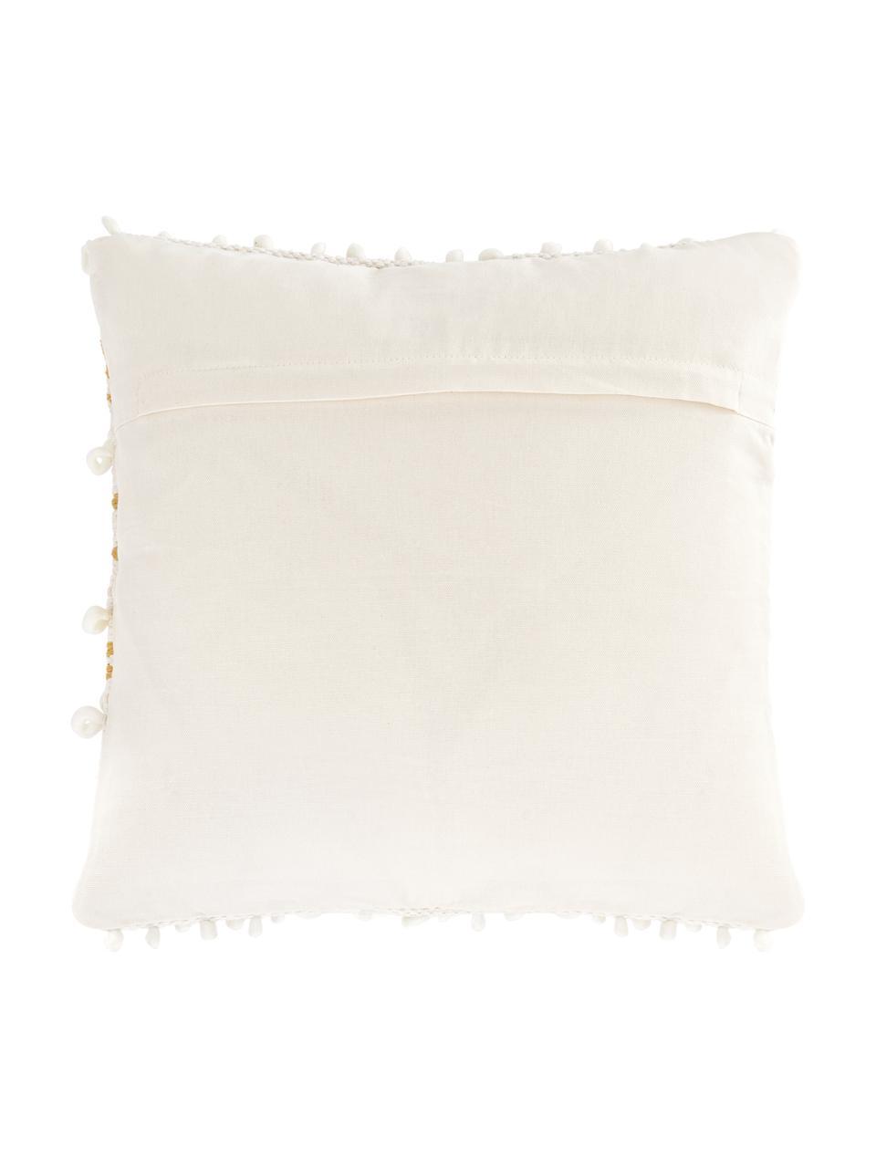 Boho Kissenhülle Paco mit dekorativer Verzierung, 80% Baumwolle, 20% Wolle, Weiß,Gelb, 45 x 45 cm