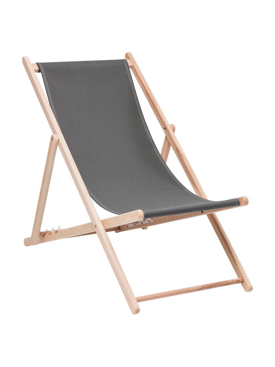 Klappbarer Liegestuhl Hot Summer, Gestell: Buchenholz, Grau, Buchenholz, B 96 x T 56 cm