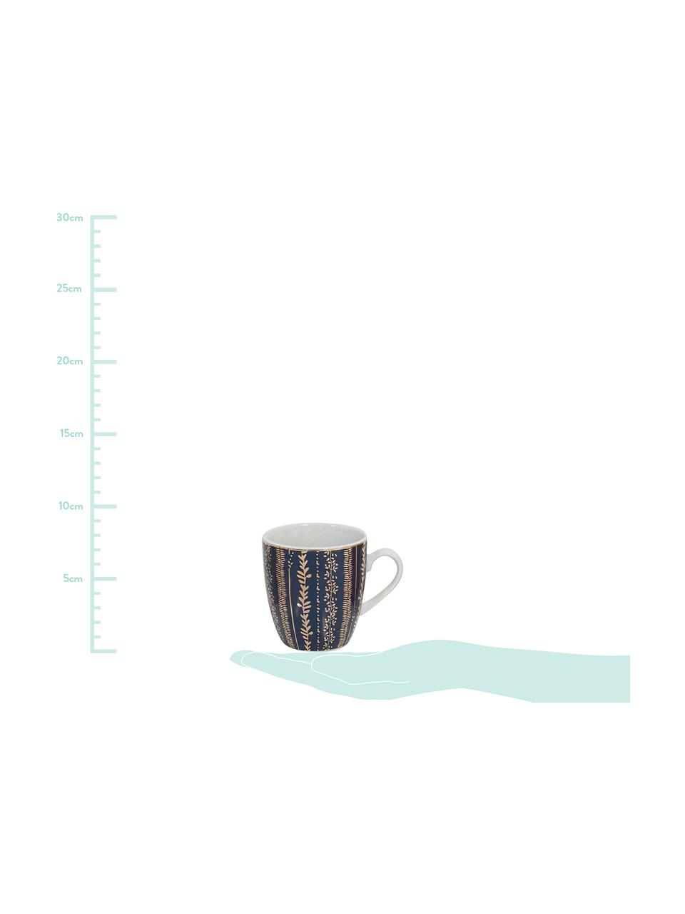 Set 4 tazze con dettagli dorati Veg-Gold, Porcellana, Rosa, blu, Ø 7 x Alt. 8 cm