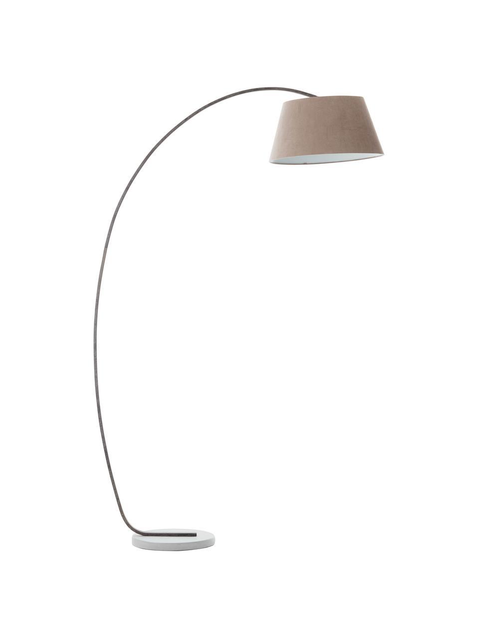 Design Bogenlampe Brok mit Antik-Finish, Lampenschirm: Flanell, Lampenfuß: Metall, Sockel: Beton, Grau, 50 x 196 cm