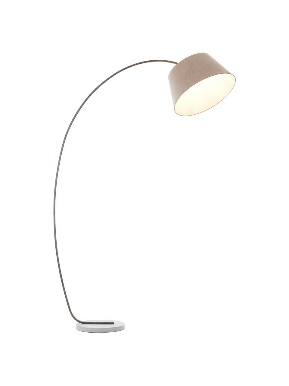 Lampada ad arco di design con finitura anticata Brok, Paralume: tessuto, Base della lampada: metallo, Grigio, Larg. 50 x Alt. 196 cm