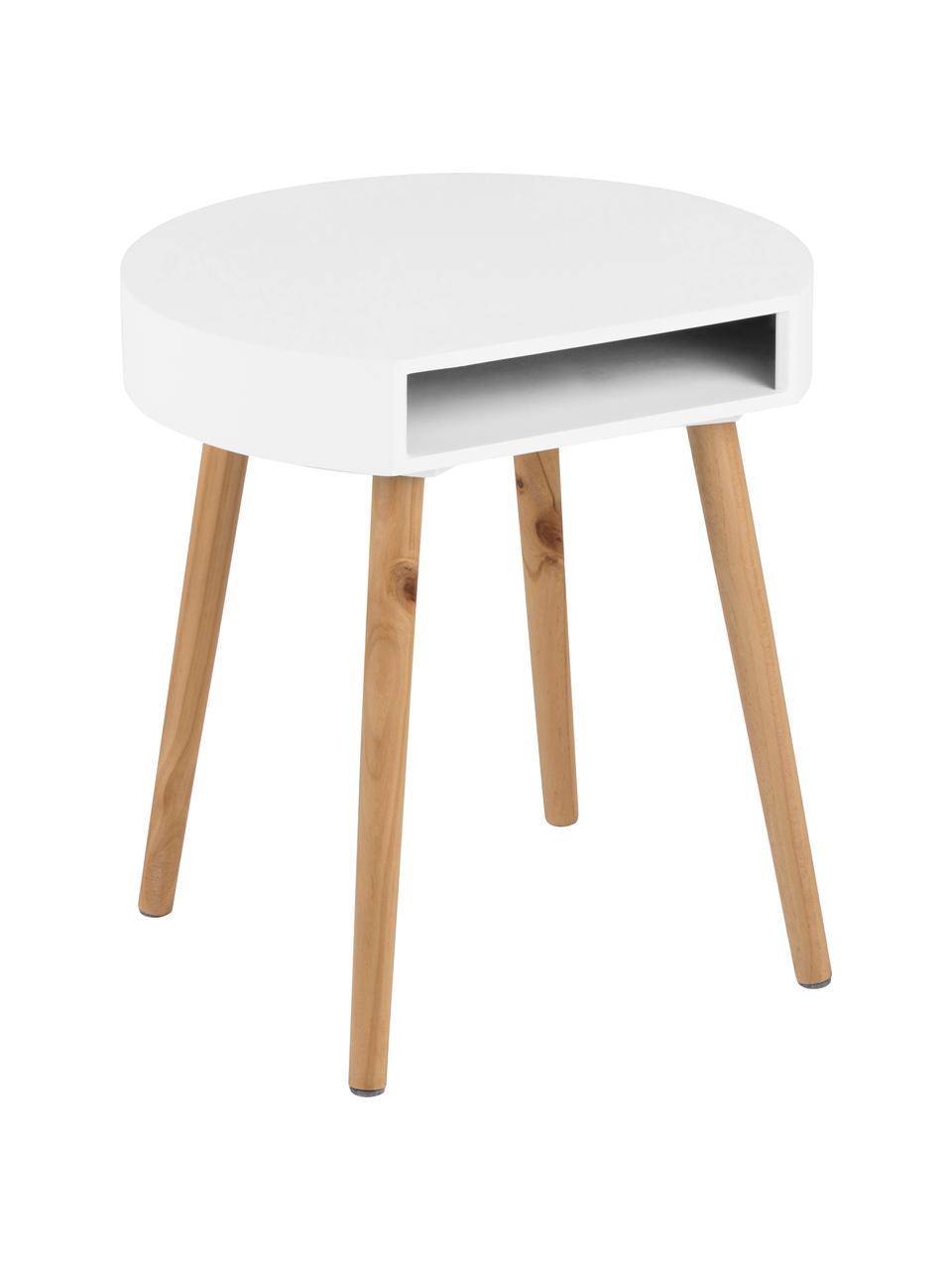 Tavolino con contenitore Ela, Legno verniciato, Bianco, legno, Larg. 40 x Prof. 36 cm