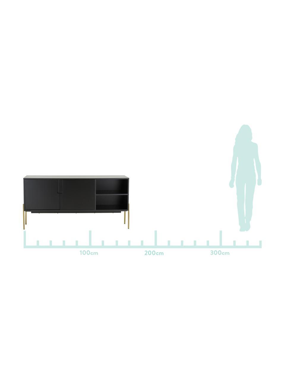 Sideboard Jesper mit Türen in Schwarz, Korpus: Mitteldichte Holzfaserpla, Füße: Metall, lackiert, Korpus: SchwarzFüße: Goldfarben, glänzend, 160 x 80 cm