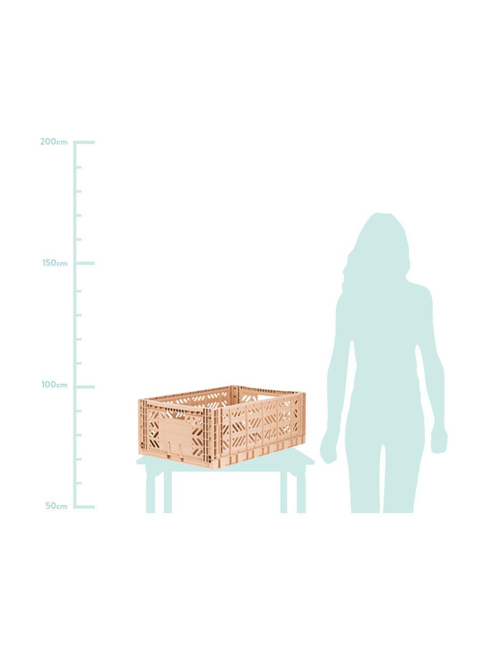 Cesto grande pieghevole e impilabile Milk, Materiale sintetico riciclato, Beige, Larg. 60 x Alt. 22 cm