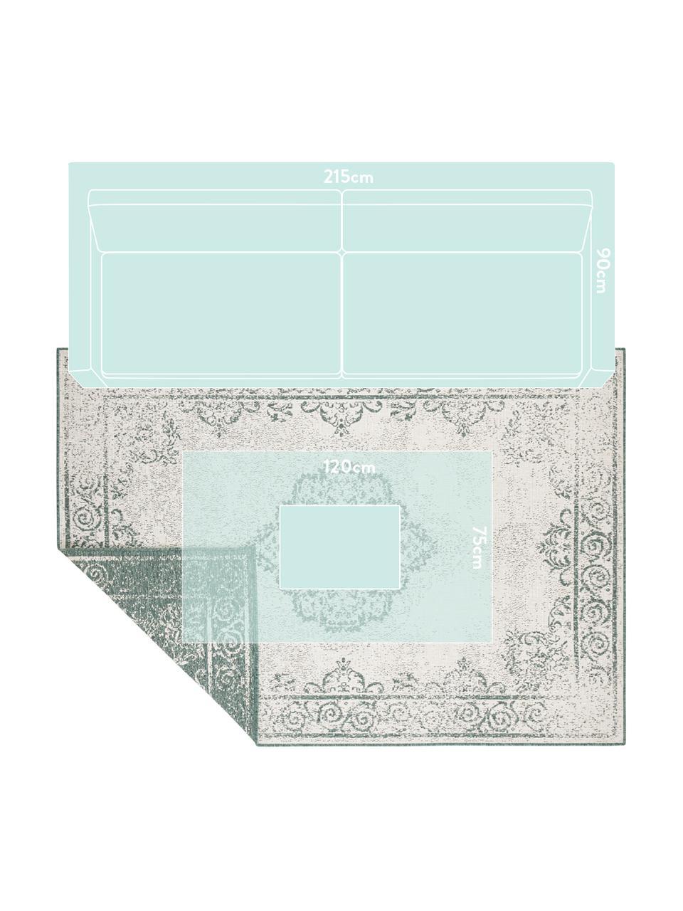 Tapis réversible intérieur-extérieur aspect vintage vert/crème Cebu, Vert, crème