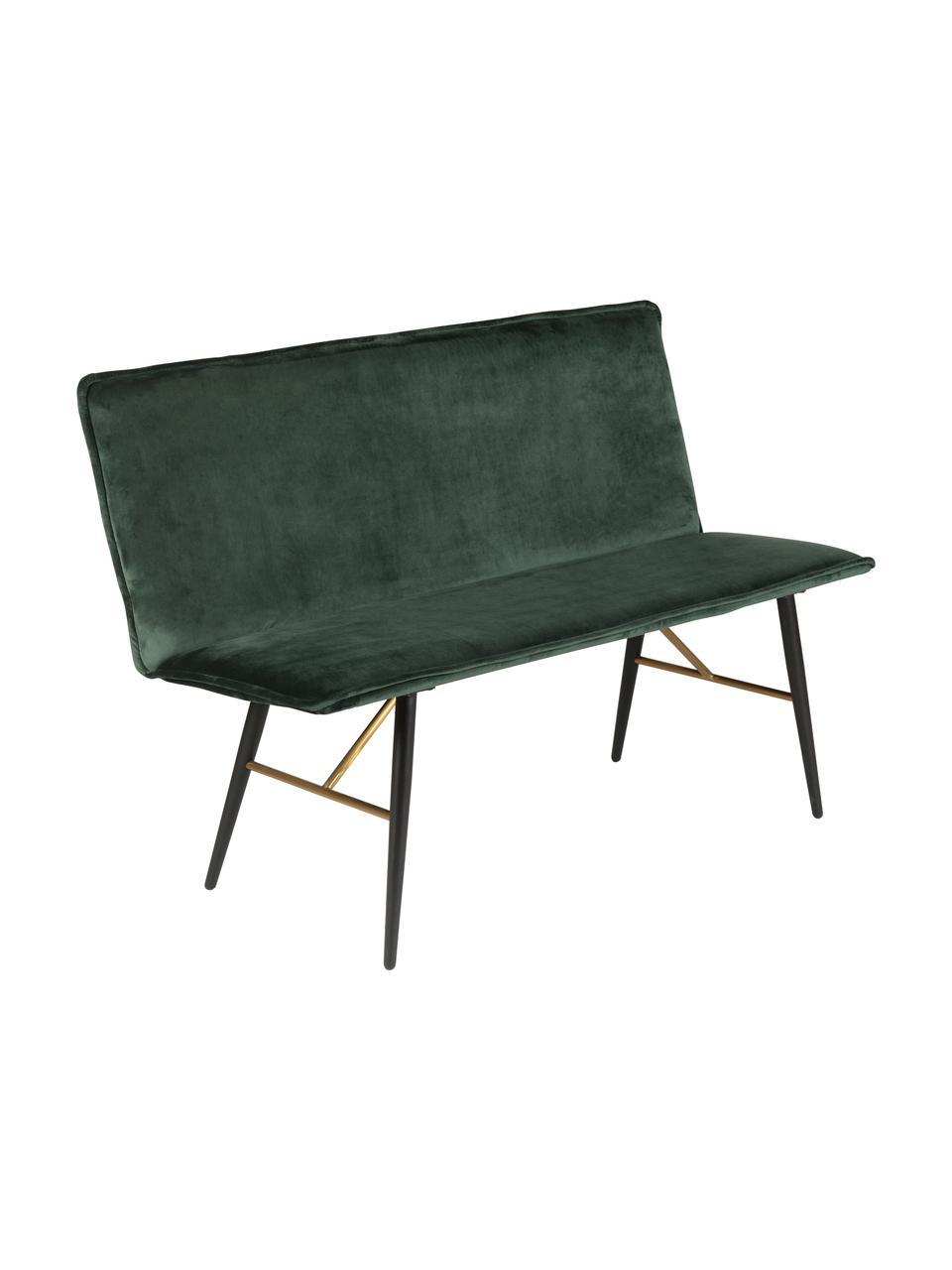 Moderne Samt-Sitzbank Verona mit Lehne, Bezug: Polyestersamt 45.000 Sche, Grün, Schwarz, B 134 x T 55 cm