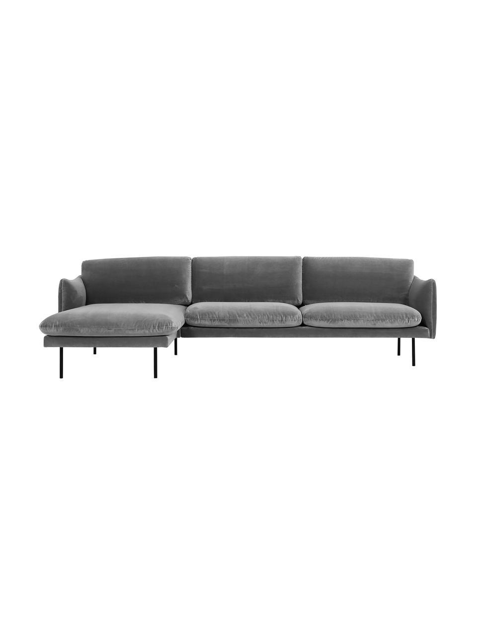 Canapé d'angle velours gris Moby, Velours gris