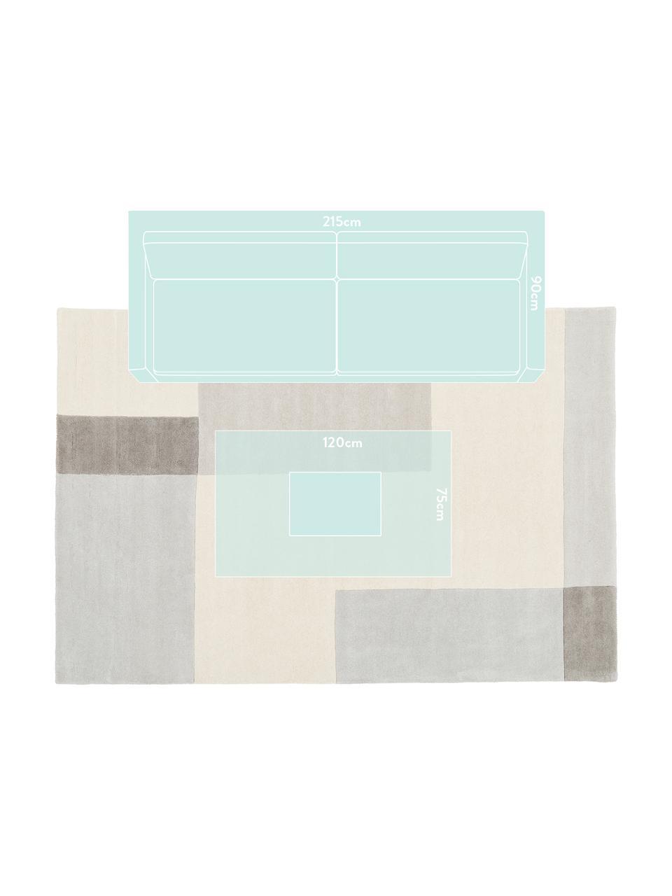 Tappeto in lana taftato a mano Keith, Retro: cotone, Beige, grigio, Larg. 200 x Lung. 300 cm  (taglia L)