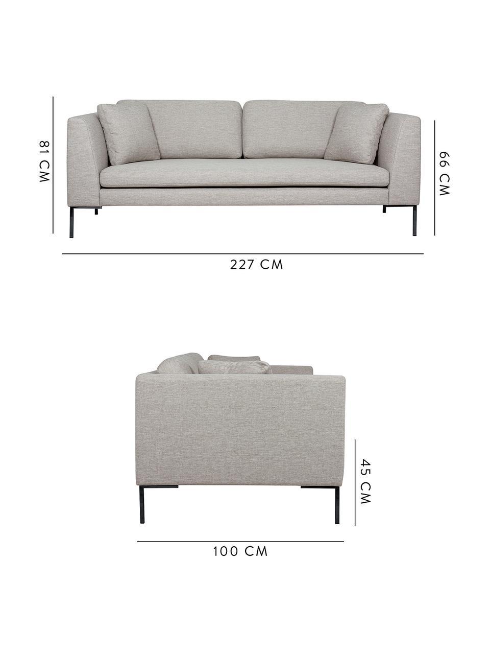 Sofa z metalowymi nogami Emma (3-osobowa), Tapicerka: poliester Tkanina o odpor, Nogi: metal malowany proszkowo, Beżowy, nogi: czarny, S 227 x G 100 cm