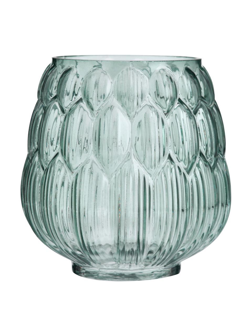 Kleine Glas Vase Berry in Petrol, Glas, Petrol, Ø 14 x H 15 cm