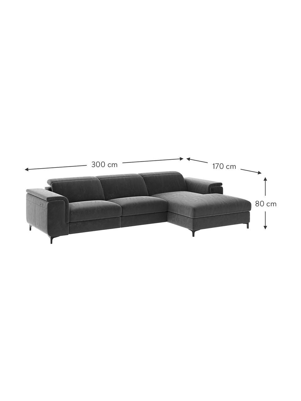 Sofa narożna z aksamitu z funkcją relaks Brito, Tapicerka: aksamit poliestrowy Dzięk, Nogi: metal lakierowany, Szary, S 300 x G 170 cm