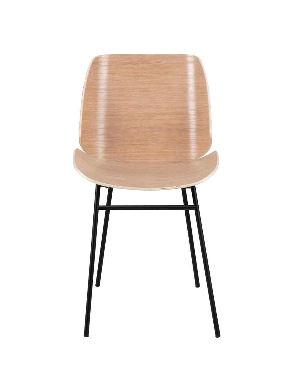 Chaises en bois Aks, 2 pièces, Bois de chêne, noir