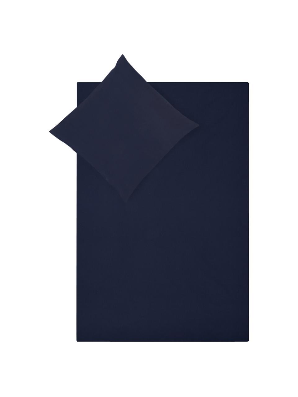 Pościel z perkalu Elsie, Ciemny niebieski, 135 x 200 cm