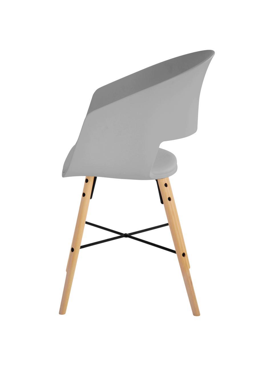 Chaises à accoudoirs style scandinave Luna, 2pièces, Assise: gris Pieds: bois de hêtre, brillant