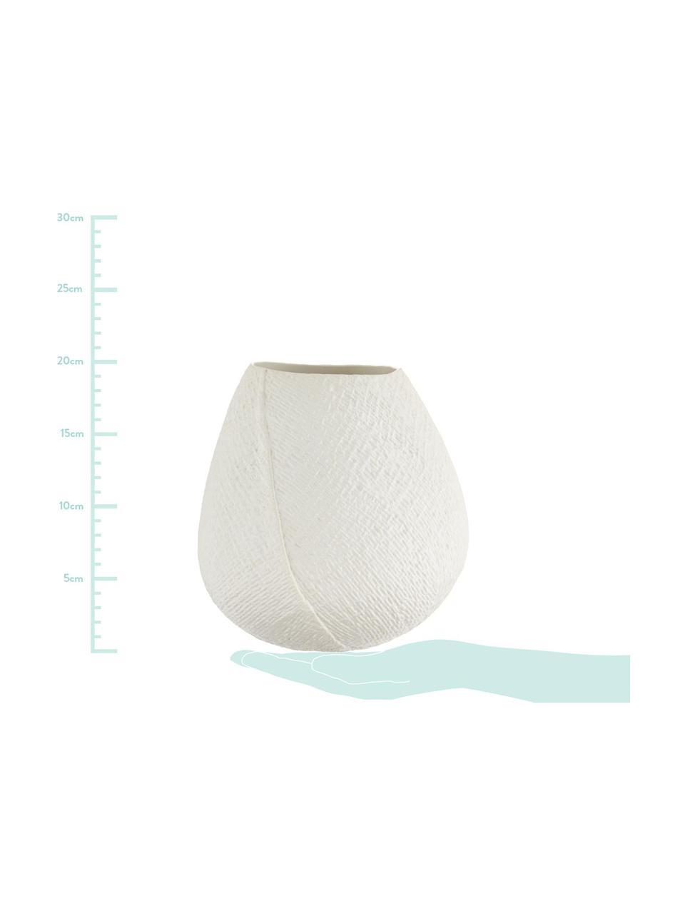 Handgemachte Vase Wendy, Keramik, Cremeweiß, matt, Ø 19 x H 20 cm