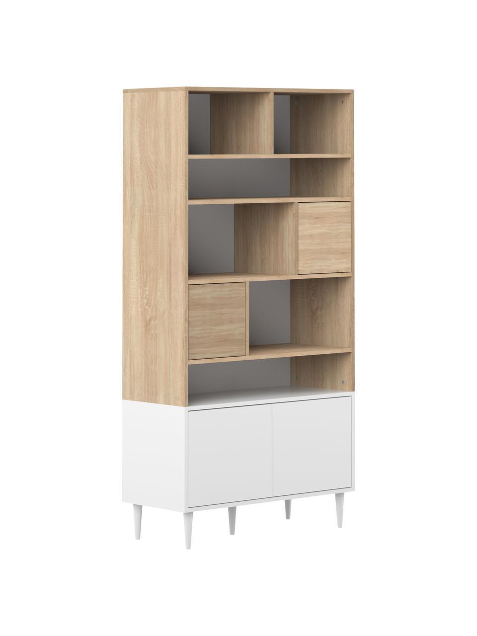 Libreria in design scandinavo Horizon, Piedini: legno di faggio, massicci, Legno di quercia, bianco, Larg. 90 x Alt. 180 cm