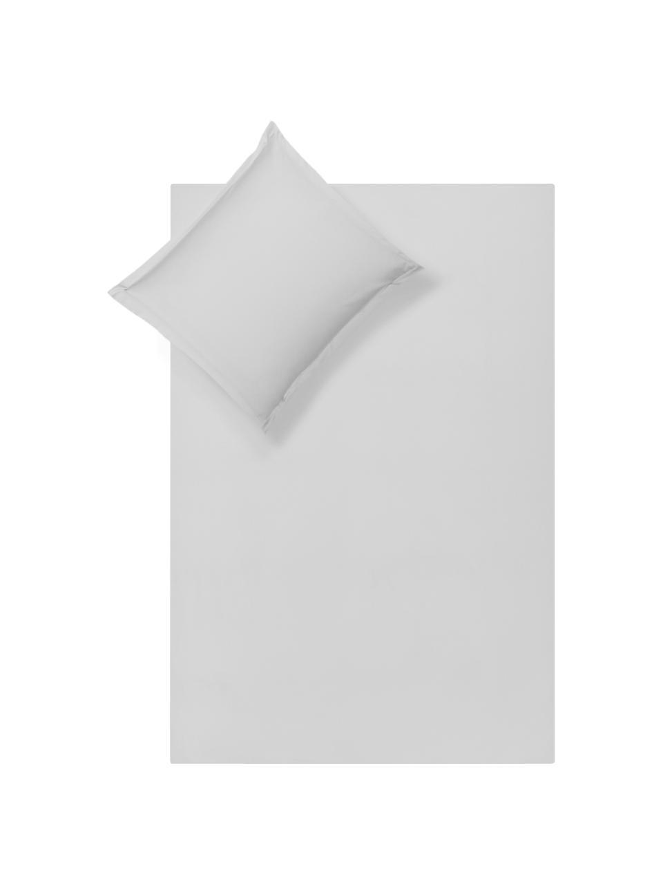Katoensatijnen dekbedovertrek Premium in lichtgrijs met bies, Weeftechniek: satijn, licht glanzend, Lichtgrijs, 140 x 200 cm
