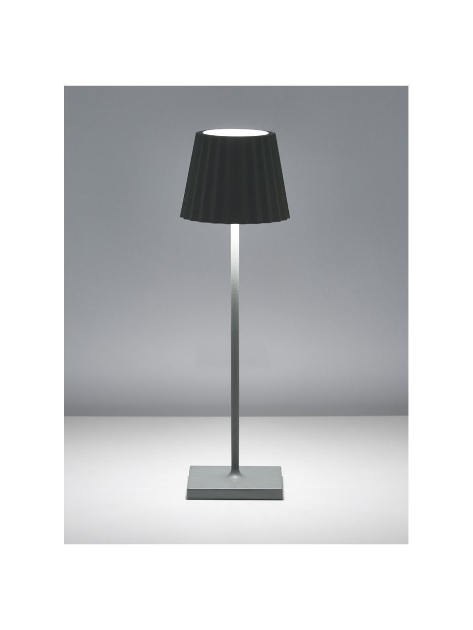Mobile LED-Außentischleuchte Trellia, Aluminium, lackiert, Grün, Ø 15 x H 38 cm