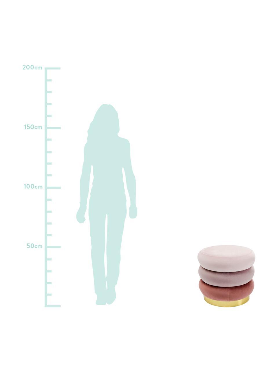 Samt-Polsterhocker Sandwich, Bezug: Polyester, Rosatöne, Ø 40 x H 45 cm
