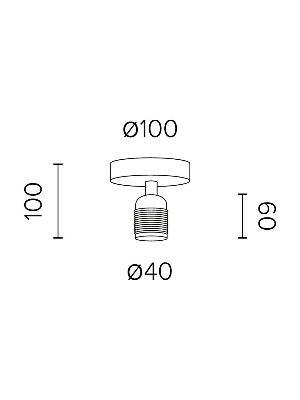 Deckenleuchte Uno ohne Leuchtmittel, Baldachin: Metall, pulverbeschichtet, Schwarz, Messing, Ø 10 x H 10 cm