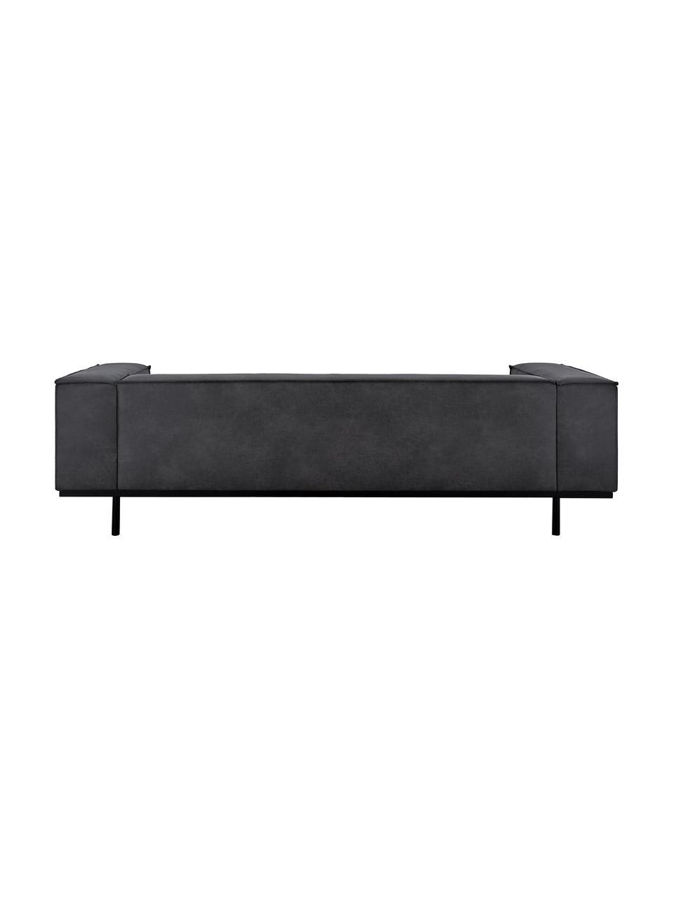 Sofa ze skóry z metalowymi nogami Abigail (3-osobowa), Tapicerka: skóra naturalna (70% skór, Nogi: stal lakierowana, Ciemny szary, S 230 x G 95 cm