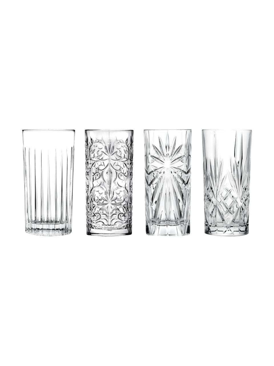 Set 4 bicchieri long drink in cristallo Bichiera, Cristallo, Trasparente, Ø 7 x Alt. 15 cm