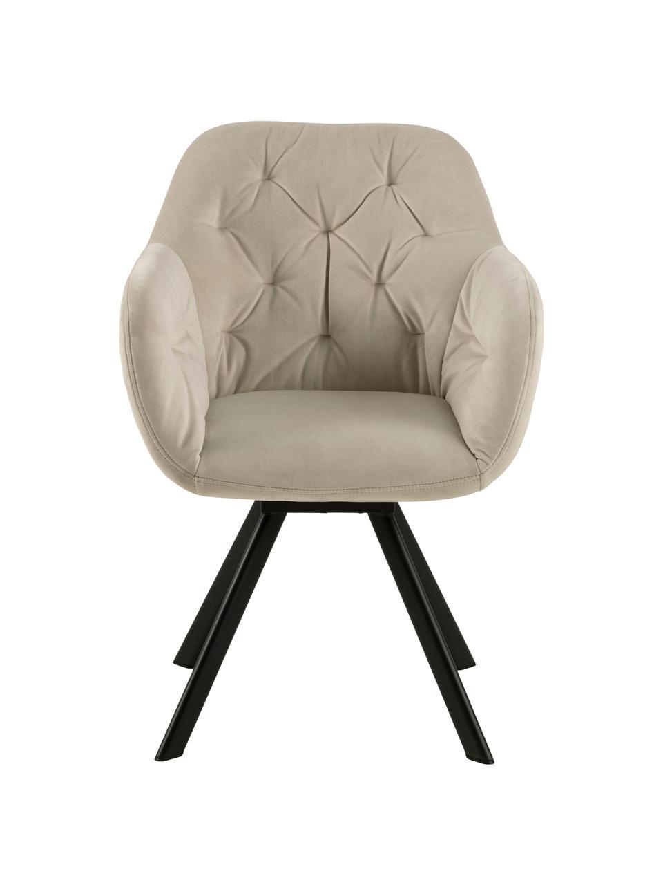 Sedia con braccioli girevole in velluto Lucie, Rivestimento: velluto di poliestere Con, Gambe: metallo verniciato, Beige, Larg. 58 x Prof. 62 cm