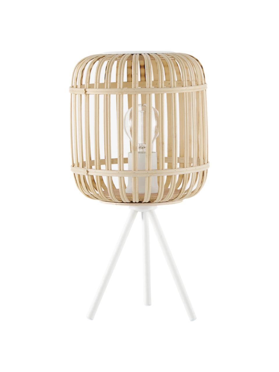 Boho-Tischlampe Adam aus Bambus, Lampenschirm: Bambus, Lampenfuß: Metall, pulverbeschichtet, Weiß, Beige, Ø 21 x H 42 cm