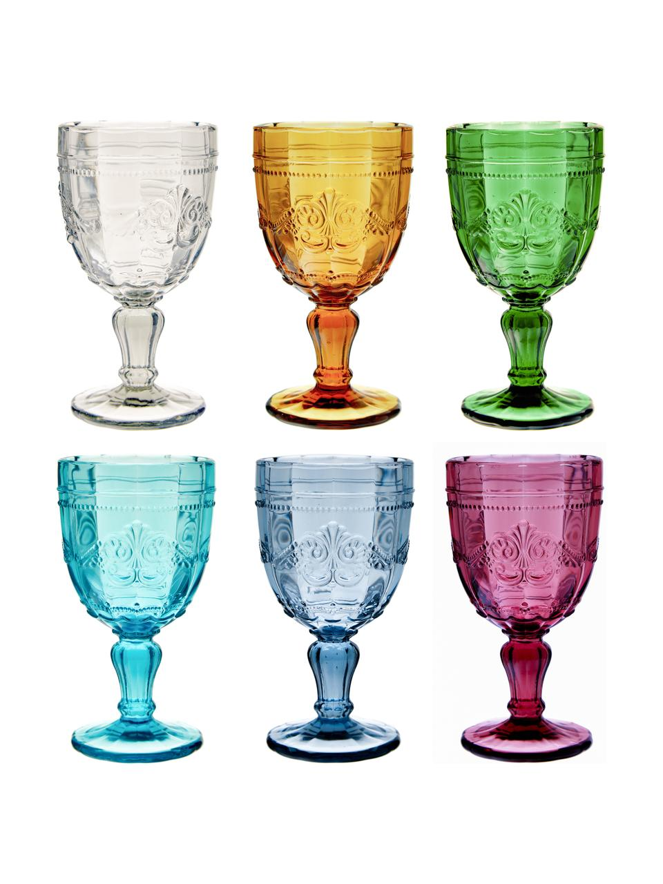Ensemble de verres à vin teintés Syrah, 6élém., Rose, bleu, turquoise, vert, jaune, gris