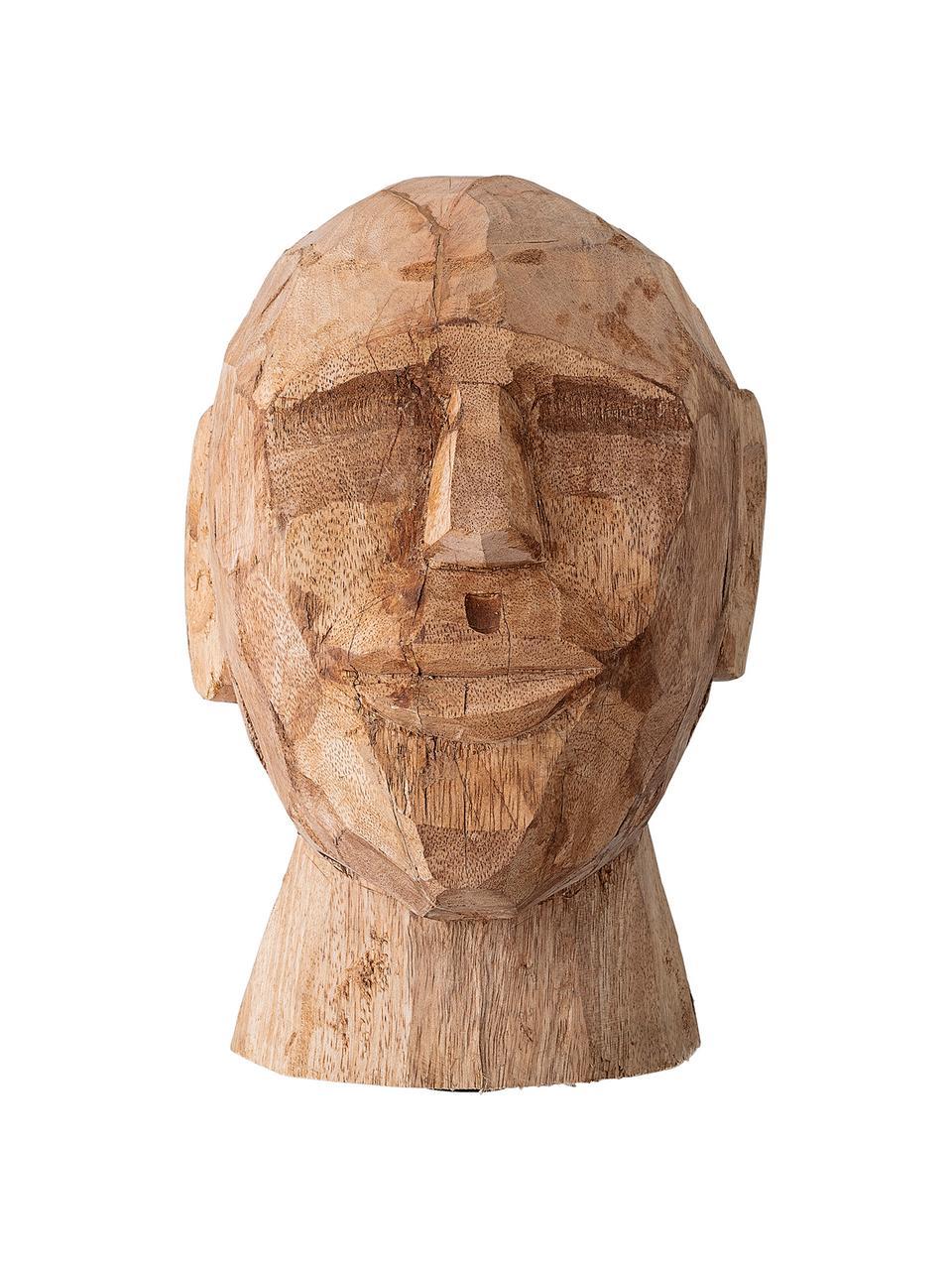 Handgefertigtes Deko-Objekt Face, Mangoholz, Mangoholz, 16 x 24 cm