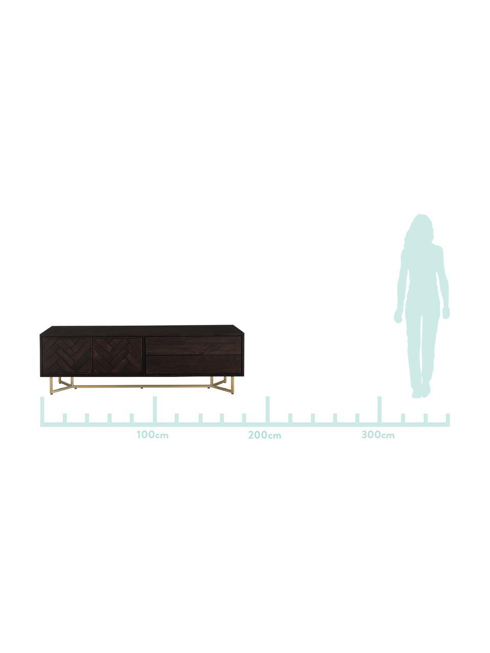 Szafka niska w jodełkę z drzwiczkami Luca, Korpus: lite drewno mangowe, Stelaż: metal powlekany, Ciemny brązowy, S 180 x W 54 cm