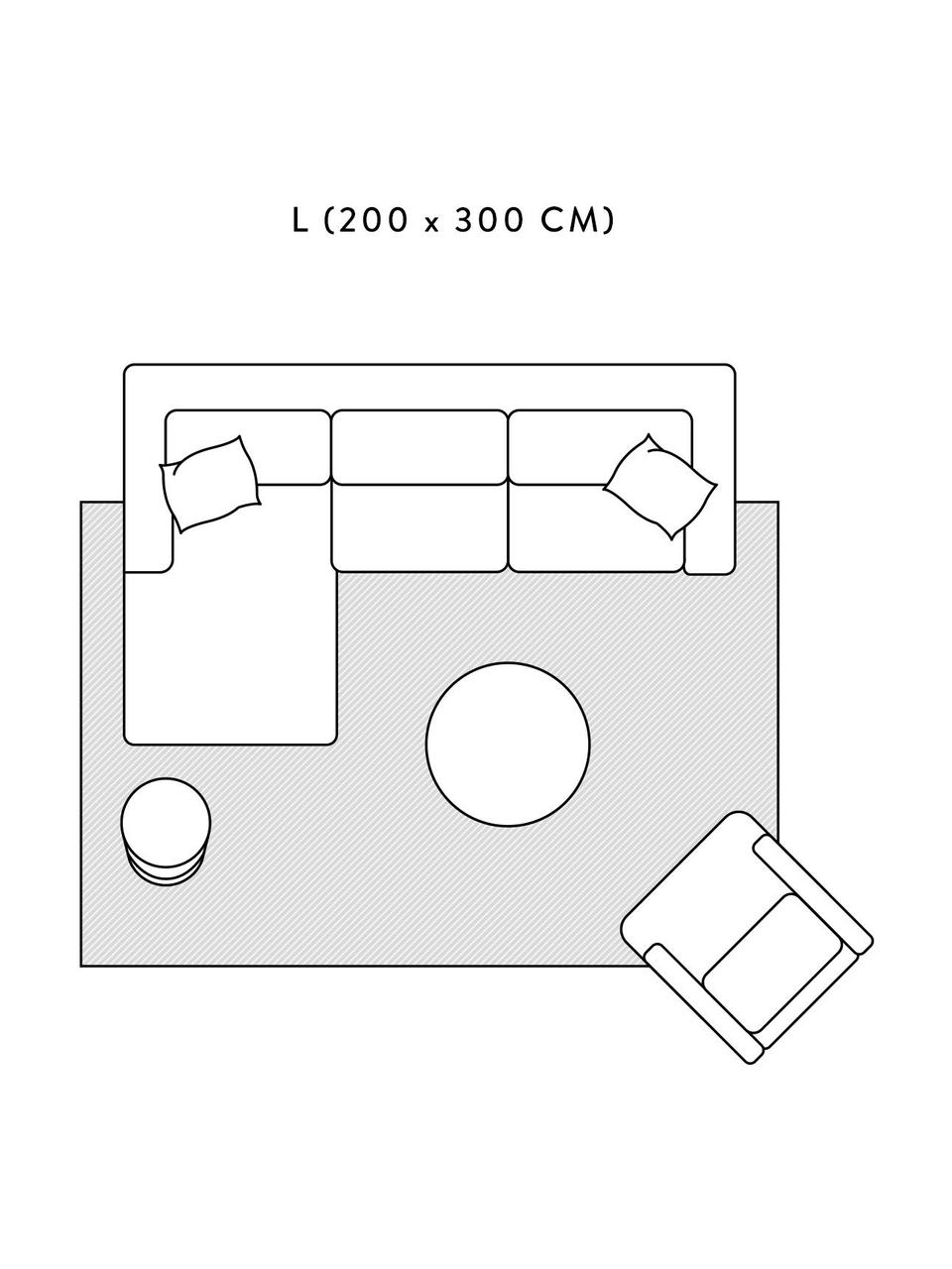 Flauschiger Hochflorteppich Rubbie mit Regenbogenmuster in Hoch-Tief-Struktur, Flor: 100% Polyester (Mikrofase, Beige, B 200 x L 300 cm (Größe L)