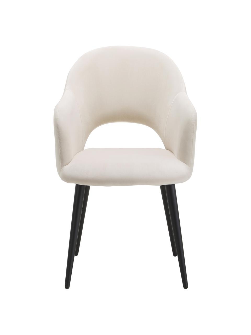 Sedia in velluto con braccioli Rachel, Rivestimento: velluto (poliestere) Con , Gambe: metallo verniciato a polv, Velluto beige, Larg. 64 x Prof. 47 cm